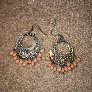 Gold filigree with peach droplet earrings
